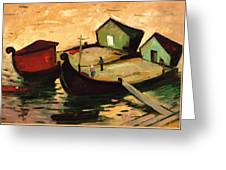 Fishing Barges On The River Sugovica Greeting Card