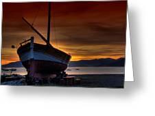 Fishing Boat At Sunset Greeting Card
