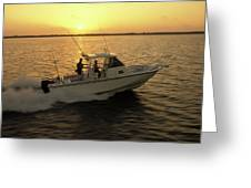 Fishing Boat Coming In At Sunset Greeting Card