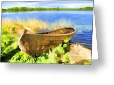 Fishing Boat Kizhi Island Greeting Card