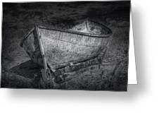 Fishing Boat On Shore In Black And White Greeting Card