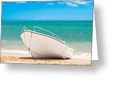Fishing Boat On The Beach Algarve Portugal Greeting Card by Amanda Elwell