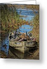 Opening Day Hunting Boat Greeting Card