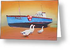 Fishing Boat Walberswick With Geese Greeting Card
