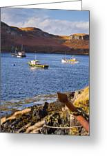 Fishing Boats At Anchor In A Quiet Bay On The Isle Of Skye In Sc Greeting Card