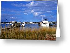 Fishing Boats At Dock Ocracoke Island Greeting Card