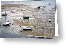 Fishing Boats At Low Tide Greeting Card