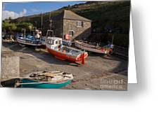 Fishing Boats At Mullion Cove Greeting Card