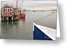 Fishing Boats At Pier Greeting Card