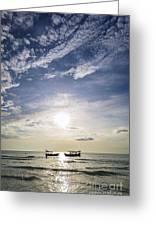 fishing boats at sunset in koh rong Cambodia Greeting Card
