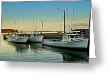 Fishing Boats In A Harbor Towards Evening On Prince Edward Island Greeting Card