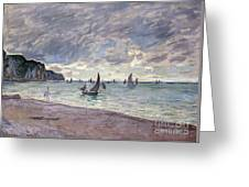 Fishing Boats In Front Of The Beach And Cliffs Of Pourville Greeting Card