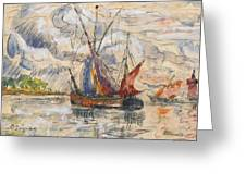 Fishing Boats In La Rochelle Greeting Card by Paul Signac