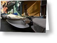 Fishing Boats In Manarola - Cinque Terre Greeting Card