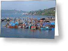 Fishing Boats In The Indian Ocean, Goa Greeting Card