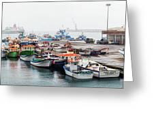 Fishing Boats Moored At A Harbor, Ponta Greeting Card