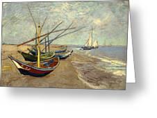 Fishing Boats On The Beach At Les Sainte-maries-de-la-mer Greeting Card