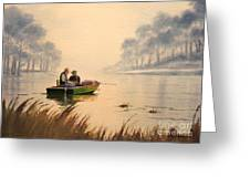 Fishing By Sunrise Greeting Card