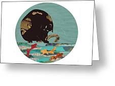 Fishing Cat Black Greeting Card
