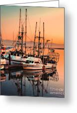 Fishing Fleet Sunset Boat Reflection At Fishermans Wharf Morro Bay California Greeting Card