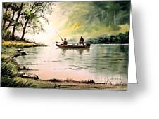 Fishing For Bass - Greenbrier River Greeting Card
