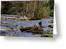 Fishing In Pacific Northwest Greeting Card
