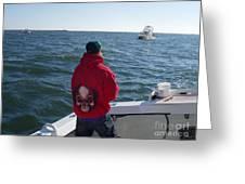Fishing In Rough Seas Greeting Card