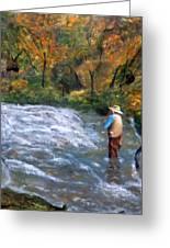 Fishing In The Fall Greeting Card