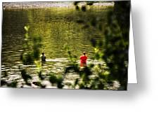 Fishing In The Pond Greeting Card