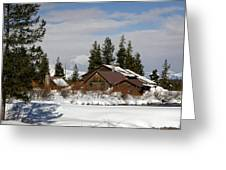Fishing Lodge In The Winter Greeting Card