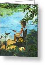 Fishing Off The Dock Greeting Card