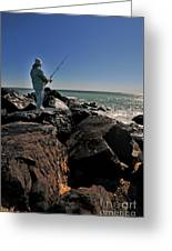 Fishing Off The Jetty Greeting Card