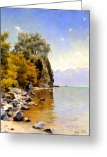 Fishing On Lac Leman Greeting Card