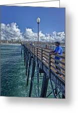 Fishing On Oceanside Pier Greeting Card