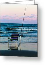 Fishing On The Beach Greeting Card
