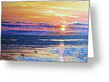 Fishing Paradise Sunset Greeting Card by Andrei Attila Mezei
