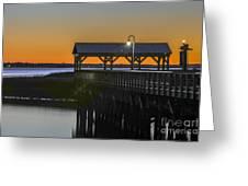 Fishing Pier At Dusk Greeting Card