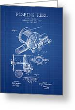 Fishing Reel Patent From 1907 - Blueprint Greeting Card