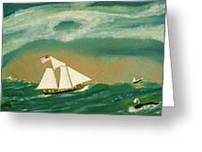 Fishing Schooner Josephine On The Grand Banks Greeting Card