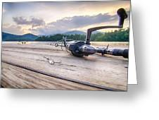 Fishing Tackle On A Wooden Float With Mountain Background In Nc Greeting Card