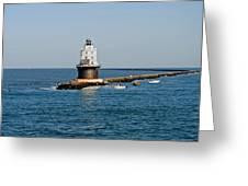Fishing The Breakwater Greeting Card