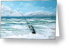 Fishing The Gutters Greeting Card