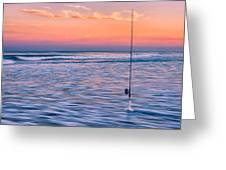 Fishing The Sunset Surf - Horizontal Version Greeting Card