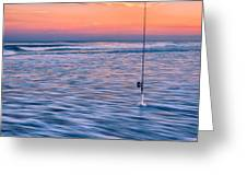 Fishing The Sunset Surf - Square Version Greeting Card