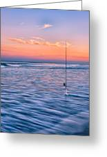 Fishing The Sunset Surf - Vertical Version Greeting Card
