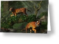 Fishing Tigers Greeting Card