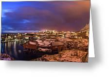 Fishing Village At Night, Lofoten Greeting Card