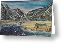 Fishing Village In  Winter Greeting Card