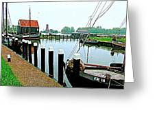 Fishing Village Marina In Zuiderzee Open Air Musuem In Enkhuizen-netherlands Greeting Card