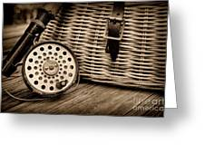 Fishing - Vintage Fly Fishing - Black And White Greeting Card by Paul Ward